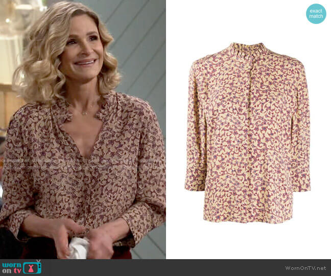 ba&sh Catty Abstract Shirt worn by Jean Raines (Kyra Sedgwick) on Call Your Mother