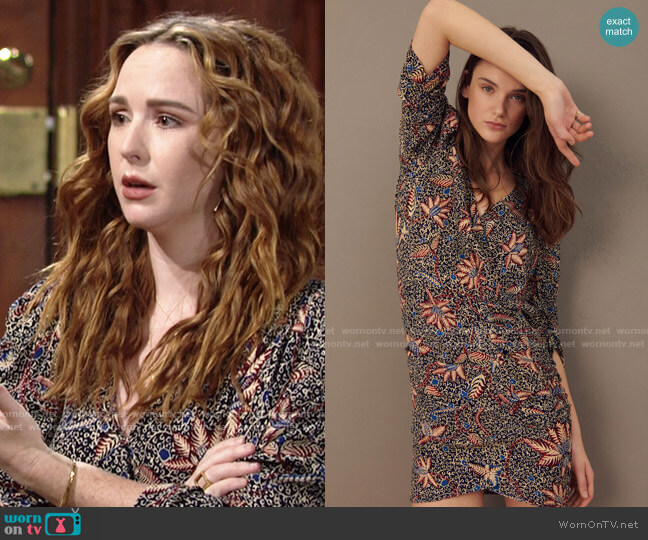 ba&sh Joanna Dress in Bleunuit worn by Mariah Copeland (Camryn Grimes) on The Young & the Restless