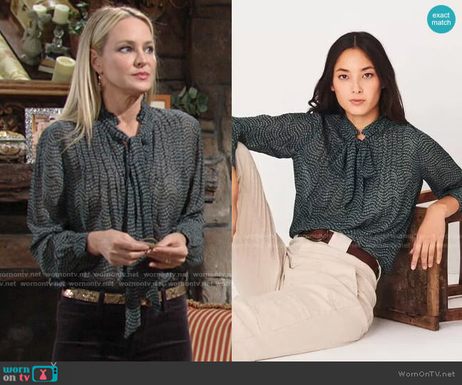 ba&sh Liberty Blouse worn by Sharon Collins (Sharon Case) on The Young & the Restless