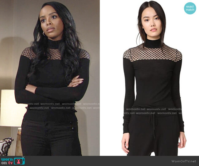 Bailey 44 Jules Sweater worn by Imani on The Young and the Restless