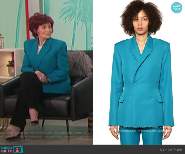 Double Breasted Twill Jacket by Balenciaga worn by Sharon Osbourne  on The Talk