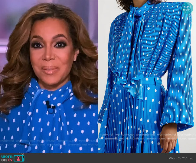 Dynasty pussy-bow polka-dot plissé-crepe blouse by Balenciaga worn by Sunny Hostin  on The View