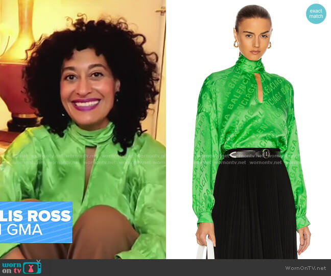 Long Sleeve Printed Blouse by Balenciaga worn by Tracee Ellis Ross on GMA