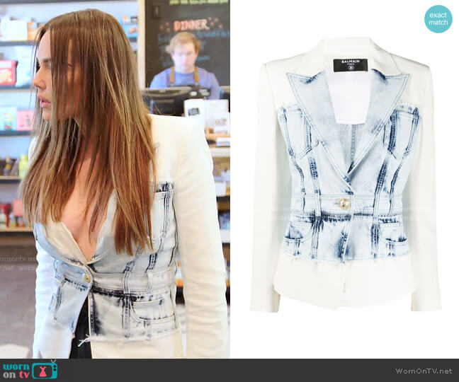 Denim and Crepe Blazer with Gold-Tone Buttons by Balmain worn by Meredith Marks  on The Real Housewives of Salt Lake City
