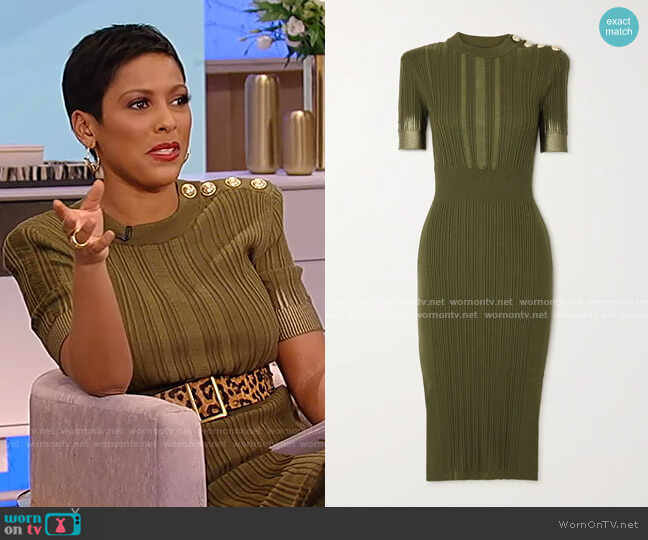 Button-Embellished Metallic Ribbed Midi Dress by Balmain worn by Tamron Hall  on Tamron Hall Show