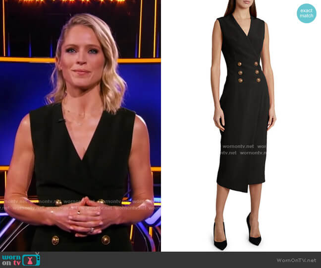 Crepe Button-Wrapped Midi Dress by Balmain worn by Sara Haines  on The Chase