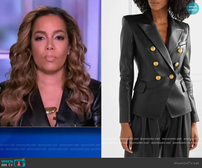 Double-breasted leather blazer by Balmain worn by Sunny Hostin  on The View
