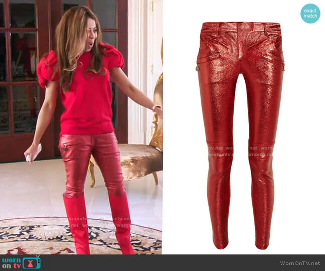 Metallic Stretch-Leather Motocross Pants by Balmain worn by Mary Cosby  on The Real Housewives of Salt Lake City