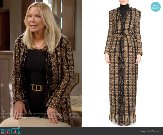 Balmain Tweed Floor-Length Belted Cardigan with Fringe worn by Brooke Logan (Katherine Kelly Lang) on The Bold & the Beautiful