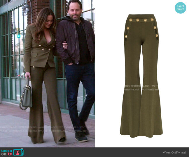Button-Embellished Flared Trousers by Balmain worn by Meredith Marks  on The Real Housewives of Salt Lake City