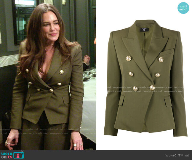 Peaked Lapel Double-Breasted Blazer by Balmain worn by Meredith Marks  on The Real Housewives of Salt Lake City