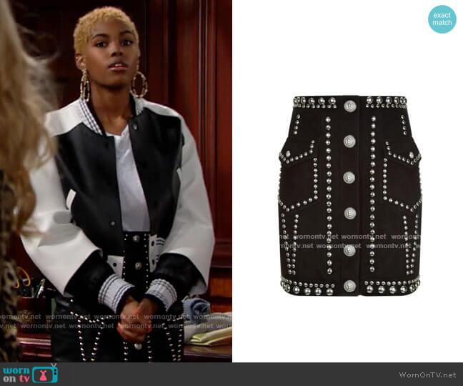 Balmain Studded Skirt worn by Paris Buckingham (Diamond White) on The Bold & the Beautiful