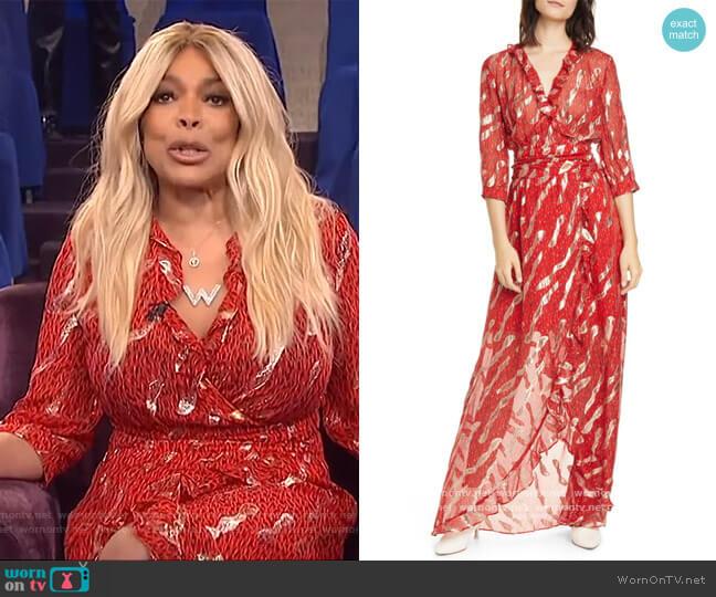 Hali Metallic Print Silk Blend Maxi Dress by Ba&sh worn by Wendy Williams  on The Wendy Williams Show