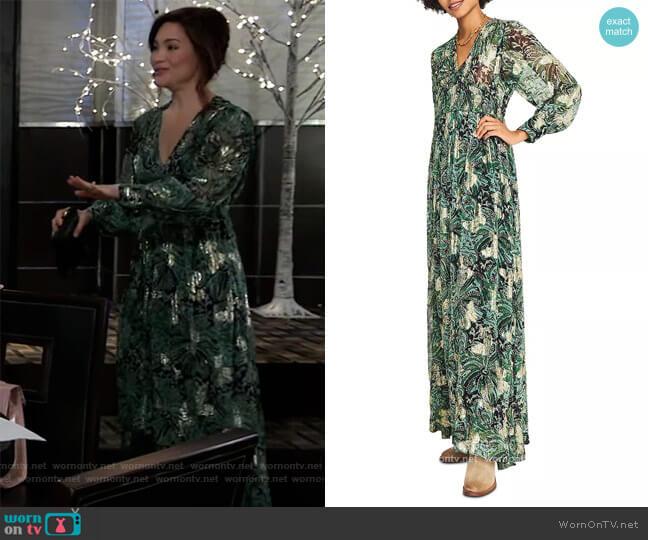 Quartz Printed Maxi Dress by Ba&sh worn by Elizabeth Webber (Rebecca Herbst) on General Hospital
