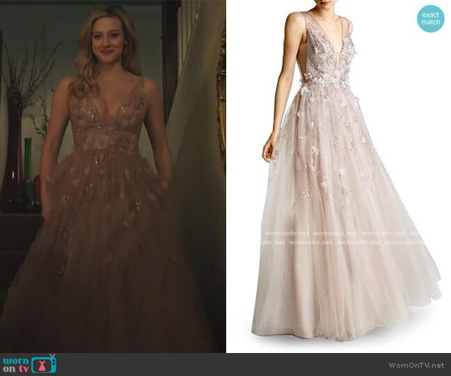 Embellished Tulle Ball Gown by Basix worn by Betty Cooper (Lili Reinhart) on Riverdale