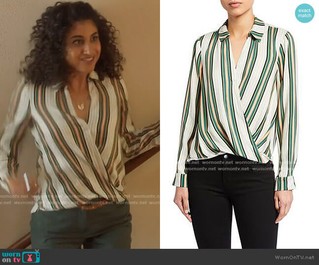 Bcbgeneration Striped Faux Wrap Blouse worn by Mikaela Shaw (Vella Lovell) on Mr Mayor
