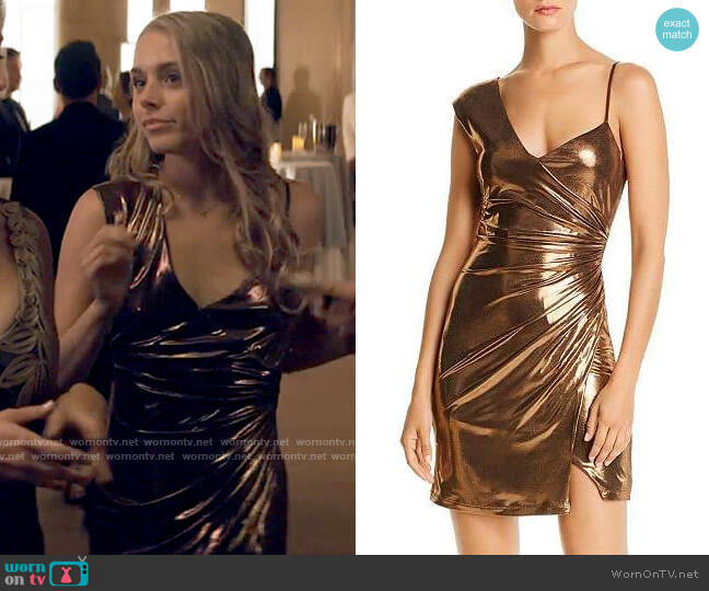 Bcbgmaxazria Bronze Lamé Cocktail Dress worn by Bette Whitlaw (Casimere Jollette) on Tiny Pretty Things