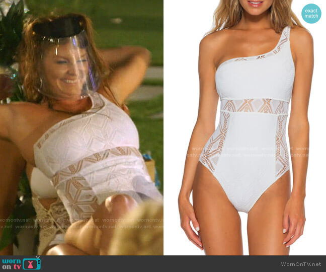 Color Play Asymmetrical One-Piece Swimsuit by Becca worn by Brandi Redmond  on The Real Housewives of Dallas