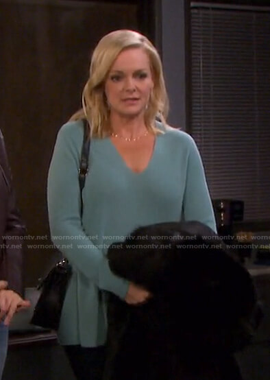 Belle's blue v-neck sweater on Days of our Lives