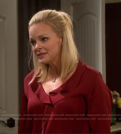 Belle's red ruffle front blouse on Days of our Lives