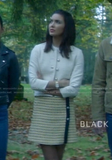 Bess's white tweed jacket and mini skirt on Nancy Drew