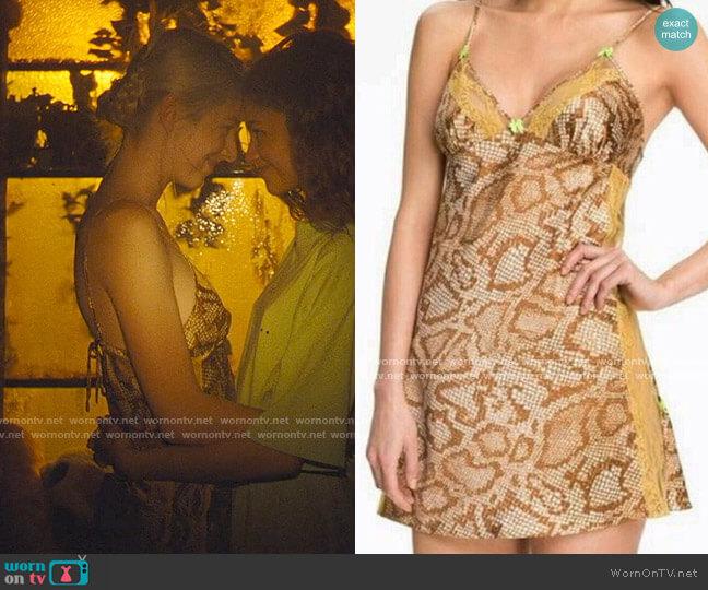 Betsey Johnson Snake Print Slip Dress worn by Jules Vaughn (Hunter Schafer) on Euphoria