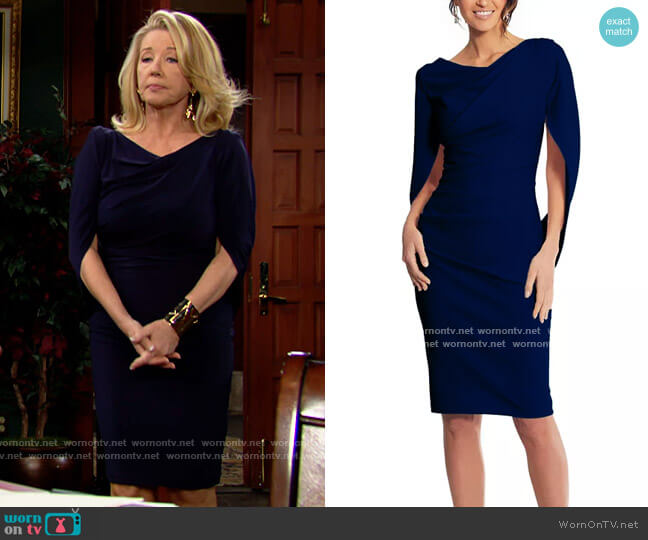 Betsy & Adam Caped Sleeve Dress worn by Nikki Reed Newman (Melody Thomas-Scott) on The Young & the Restless
