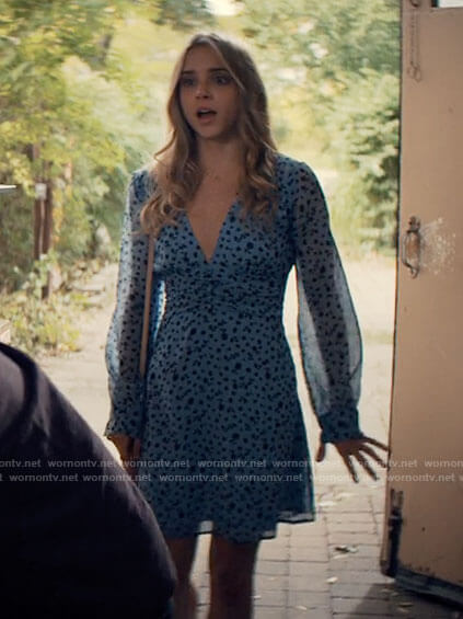 Bette's blue floral long sleeved dress on Tiny Pretty Things
