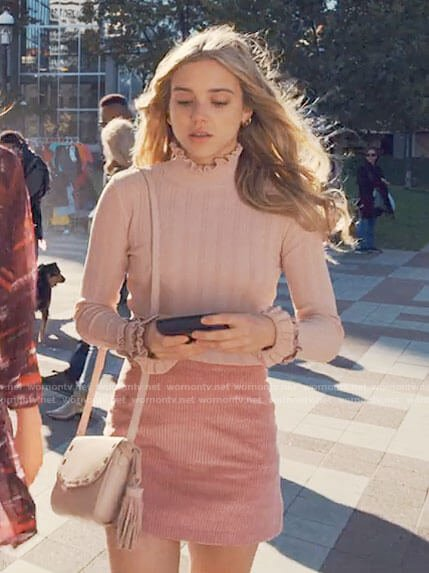 Bette's pink corduroy skirt and ruffle trim top on Tiny Pretty Things