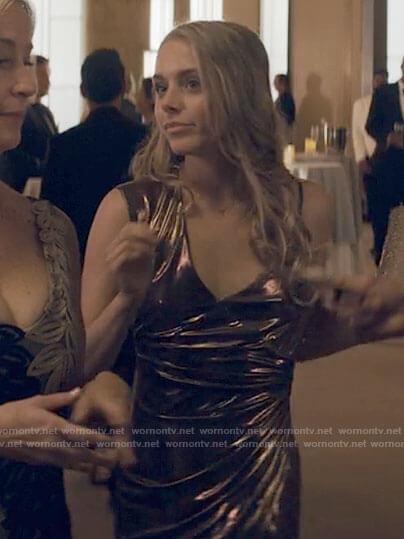 Bette's metallic gold asymmetric strap dress on Tiny Pretty Things