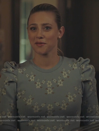 Betty's blue floral puff sleeve sweater on Riverdale