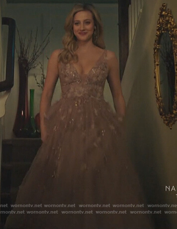 Betty's pink embellished gown on Riverdale