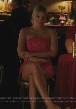 Betty's pink floral strapless dress on Riverdale