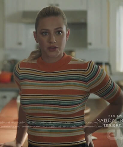 Betty's orange striped short sleeve sweater on Riverdale