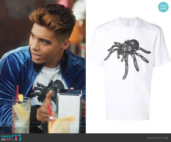 Tarantula Graphic T-shirt by Black Barrett worn by Vivek Shah (Jordan Buhat) on Grown-ish