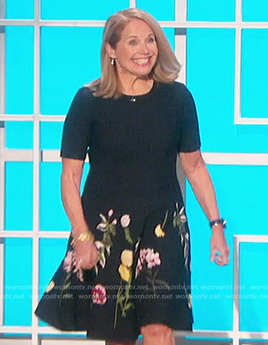 Katie Couric's black floral embroidered dress on The Talk