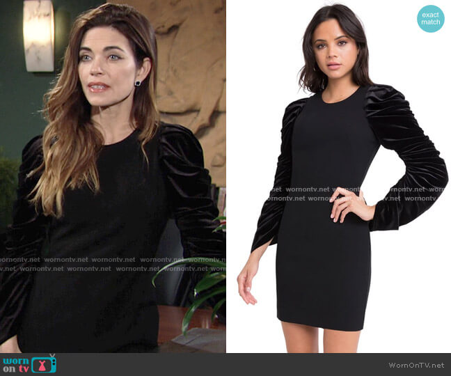 Black Halo Archer Dress worn by Victoria Newman (Amelia Heinle) on The Young & the Restless