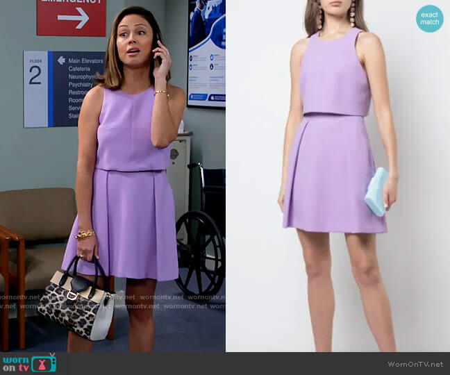 Black Halo Sanibel Dress in Hortensia worn by Tara Barnett (Vanessa Lachey) on Call Me Kat