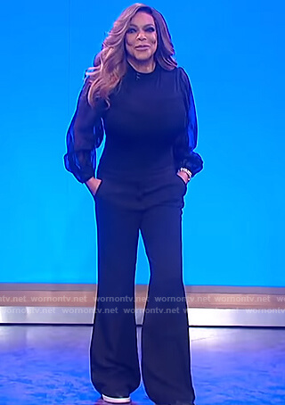 Wendy's black sheer blouse and pants on The Wendy Williams Show