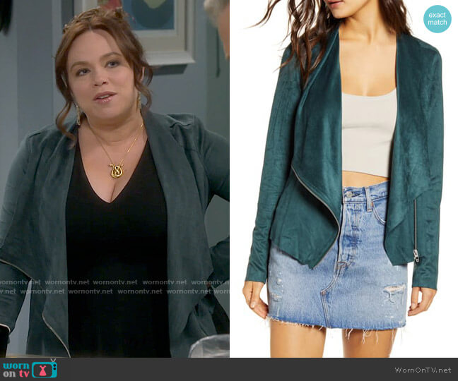 Blank NYC Drape Front Faux Suede Jacket worn by Kristin Baxter (Amanda Fuller) on Last Man Standing