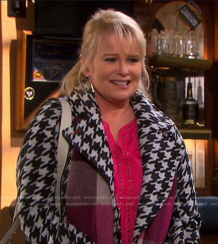 Bonnie's pink studded blouse and houndstooth coat on Days of our Lives