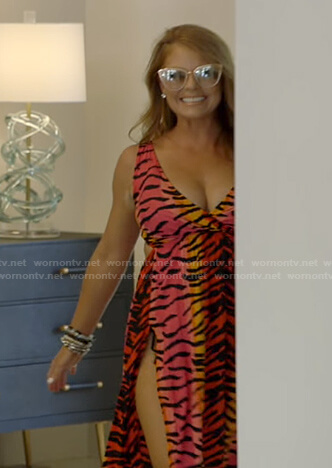 Brandi's tiger print maxi dress on The Real Housewives of Dallas