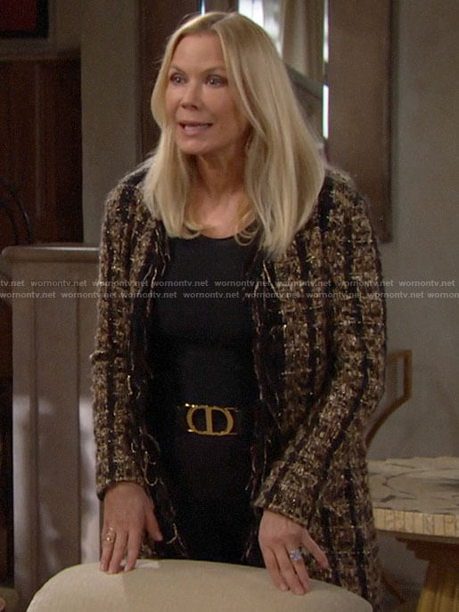 Brooke's long tweed jacket on The Bold and the Beautiful