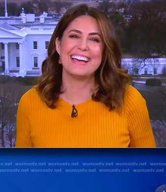 Cecilia Vega's yellow ribbed sweater on The View