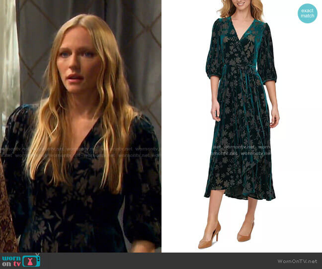 Velvet Surplice Maxi Dress by Calvin Klein worn by Abigail Deveraux (Marci Miller) on Days of our Lives