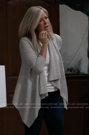 Carly's gray drape cardigan on General Hospital