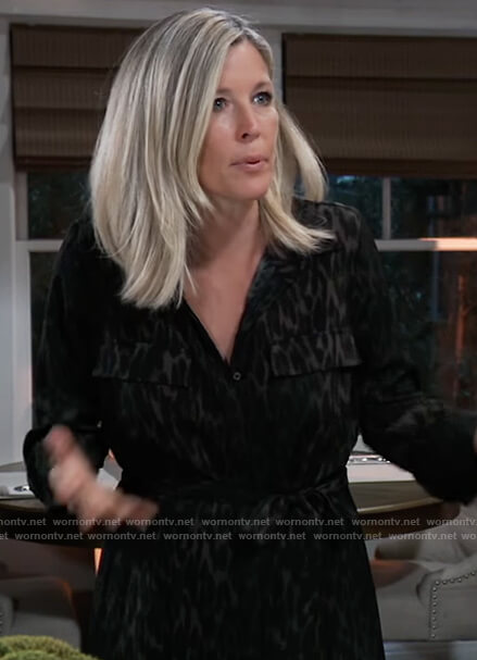 Carly's black leopard print shirtdress on General Hospital