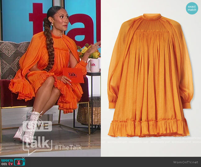 Cutout Crinkled Silk crepe de chine Mini Dress by Carolina Herrera worn by Elaine Welteroth  on The Talk