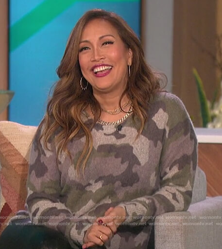 Carrie's camo cashmere sweater on The Talk