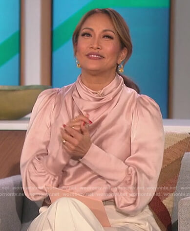 Carrie's pink cowl neck blouse on The Talk